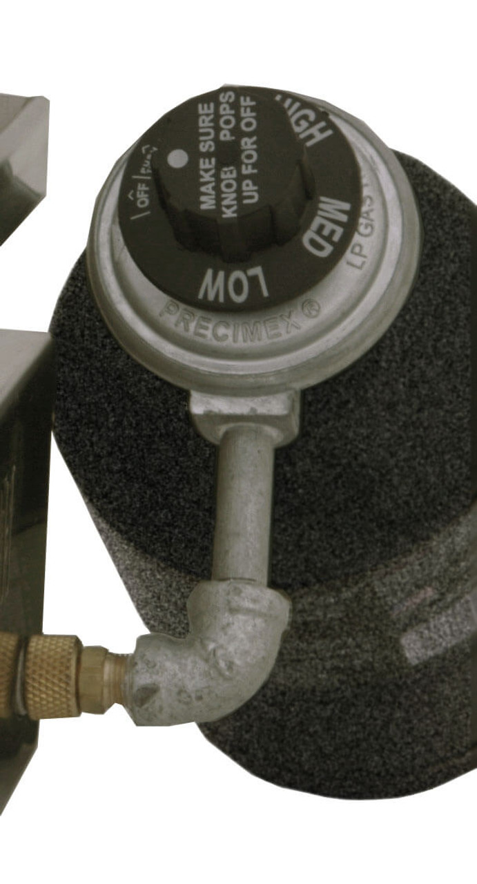 Solaire Portable Grill Regulator installed on propane bottle