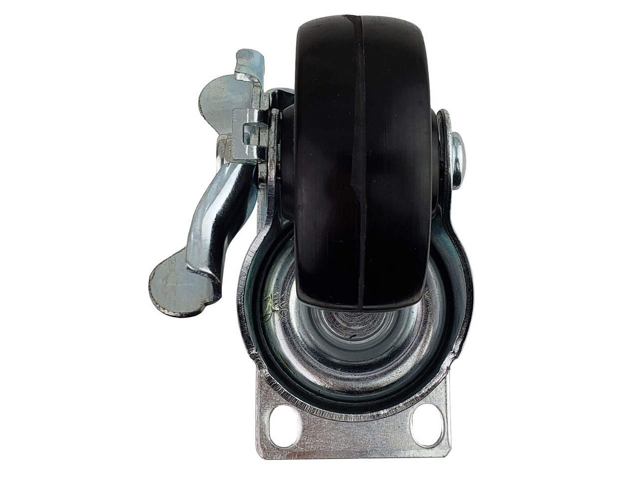 Caster, swivel with brake, Bottom View