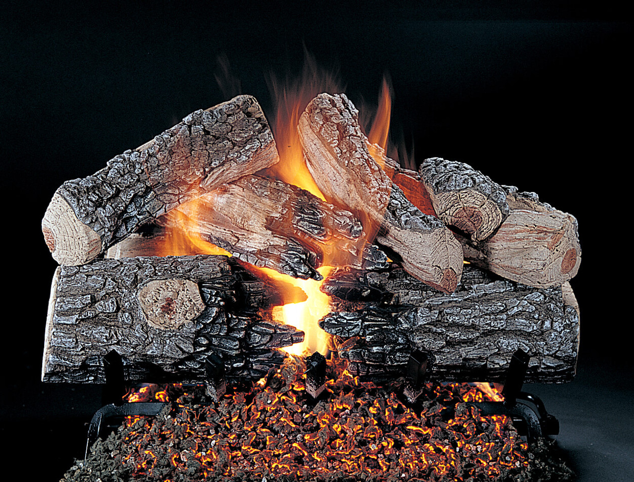 Evening Prestige by Rasmussen Gas Logs. Shown in 24-inch set size with FX burner and Grate.