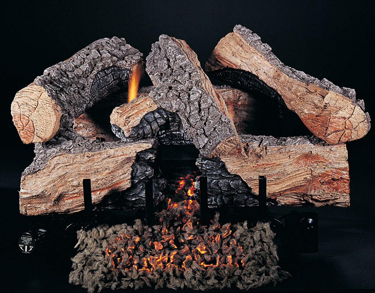 "18"" Evening Embers by Rasmussen Gas Logs, Spilt side of logs showing"