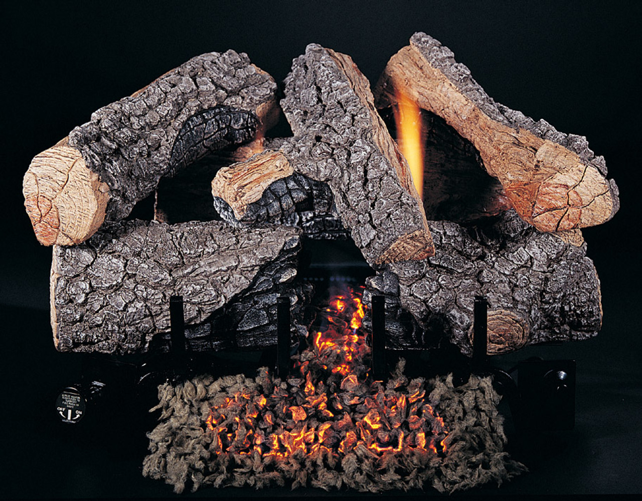 "18"" Evening Embers by Rasmussen Gas Logs, Bark side of logs showing"