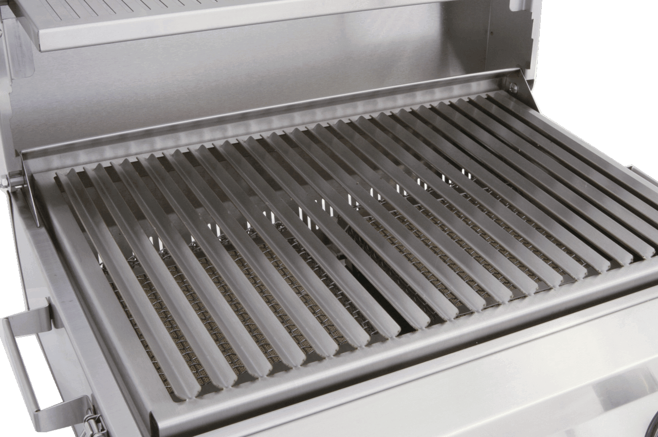 Solaire V-grates control the drippings for superior taste and to eliminate flare-ups