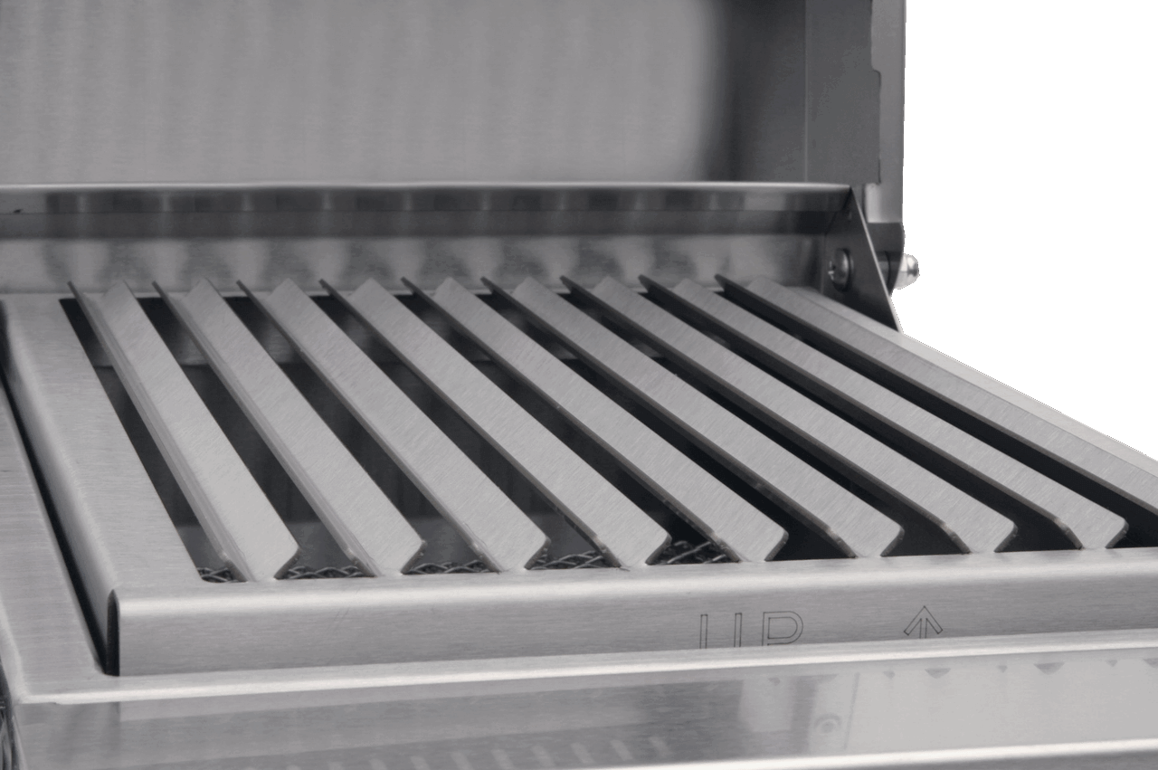 V-grates control the drippings for superior taste and to eliminate flare-ups