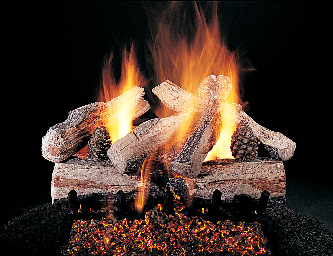 """Evening CrossFire 24-inch set size on FX burner and 5/8"""" Grate by Rasmussen Gas Logs"""