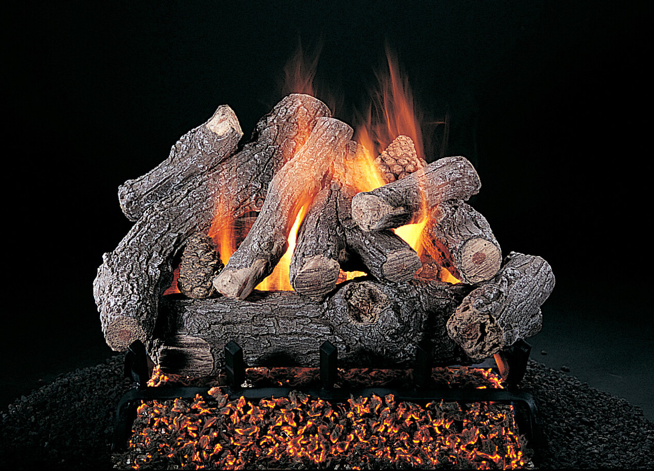 "Bonfire (BF) Logs (shown in 24-inch set size on FX burner and 5/8"" grate) by Rasmussen Gas Logs"