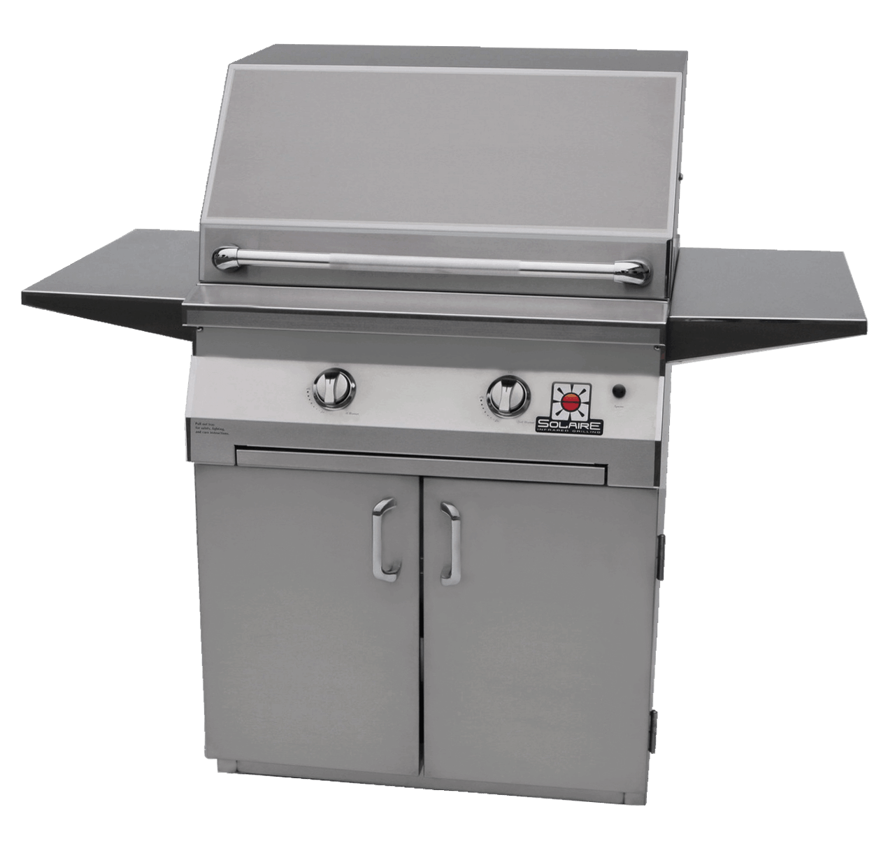 Solaire 30 Inch Grill, Standard Cart, Front View, Hood Down, Shelves Up, IRBQ