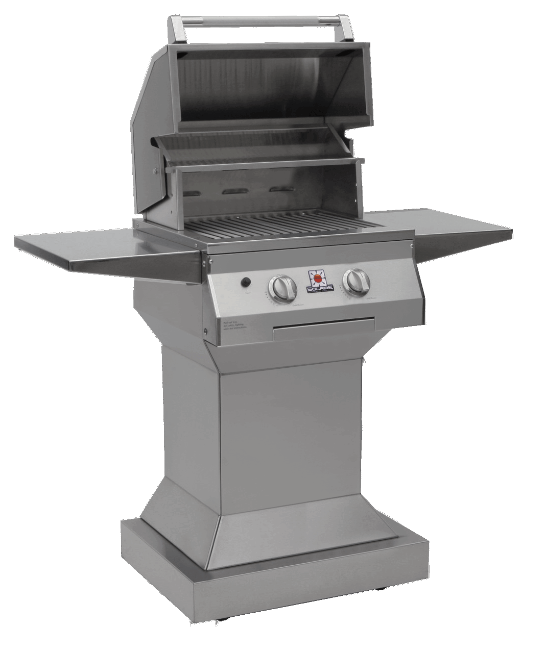 Solaire 21 Inch Grill, Angular Pedestal, Front View, Hood Up, Shelves Up