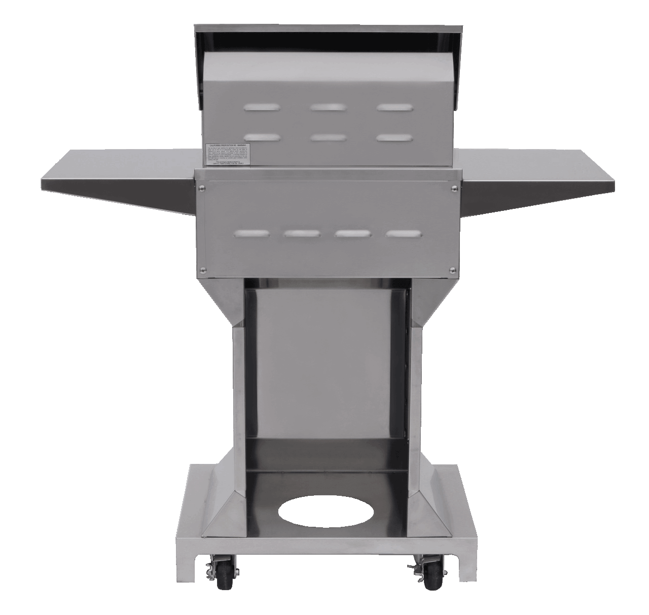 Solaire 21 Inch Grill, Angular Pedestal, Back View, Hood Down, Shelves Up
