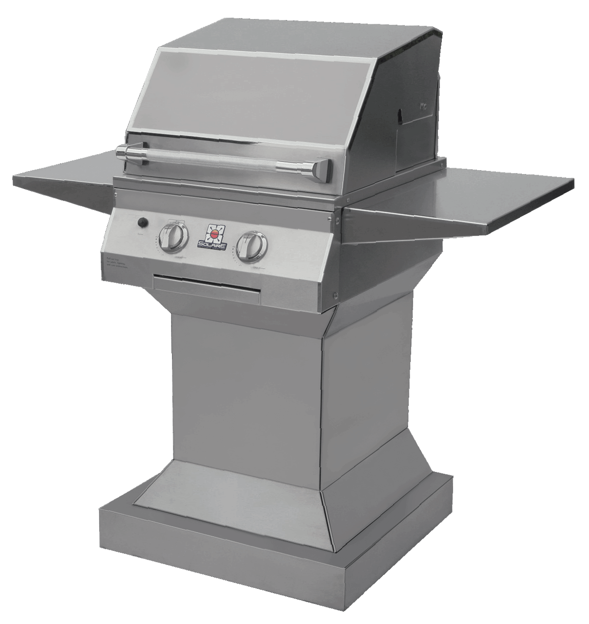 Solaire 21 XL Grill, Angular Pedestal, Front View, Hood Down, Shelves Up