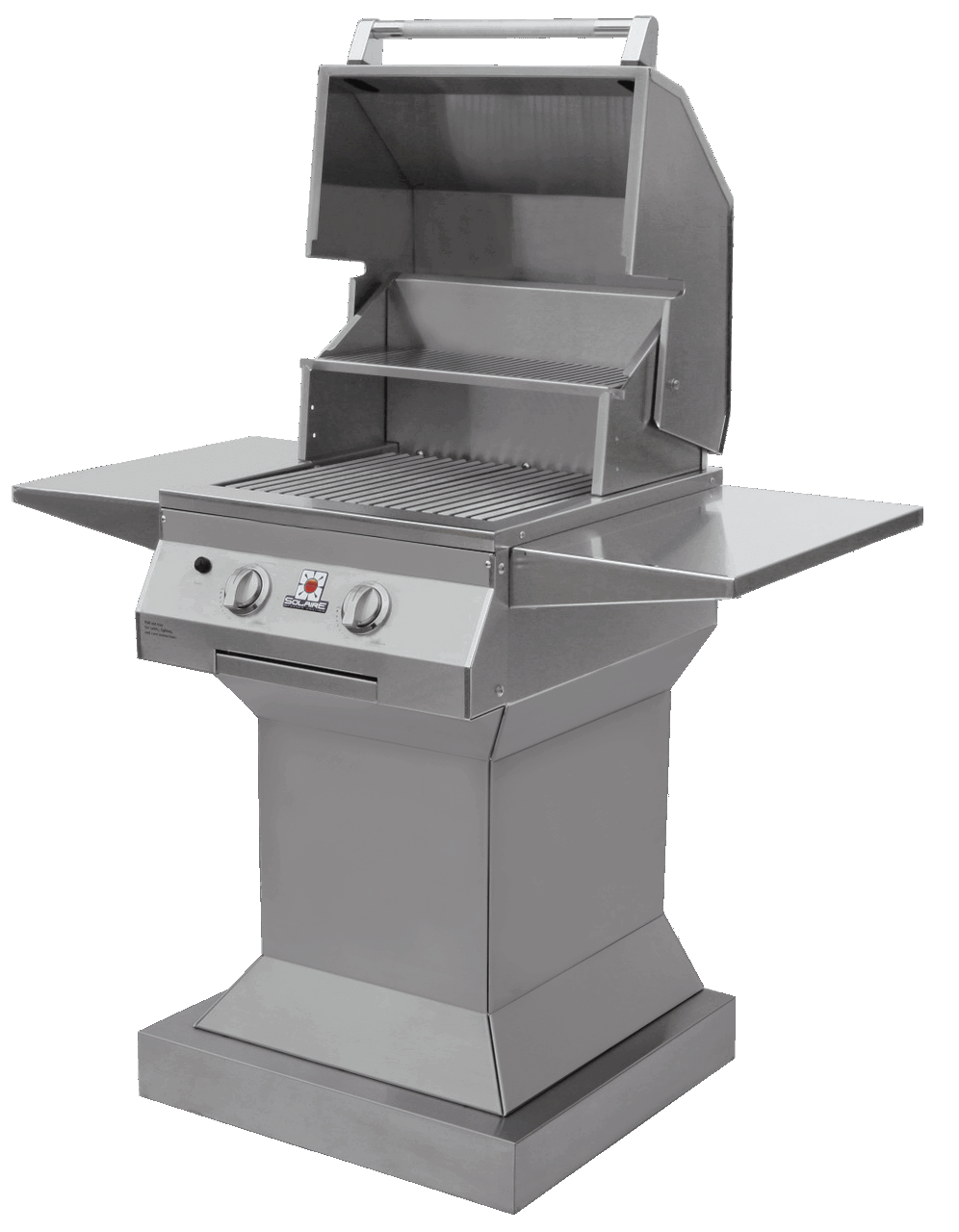 Solaire 21 XL Grill, Angular Pedestal, Front View, Hood Up, Shelves Up
