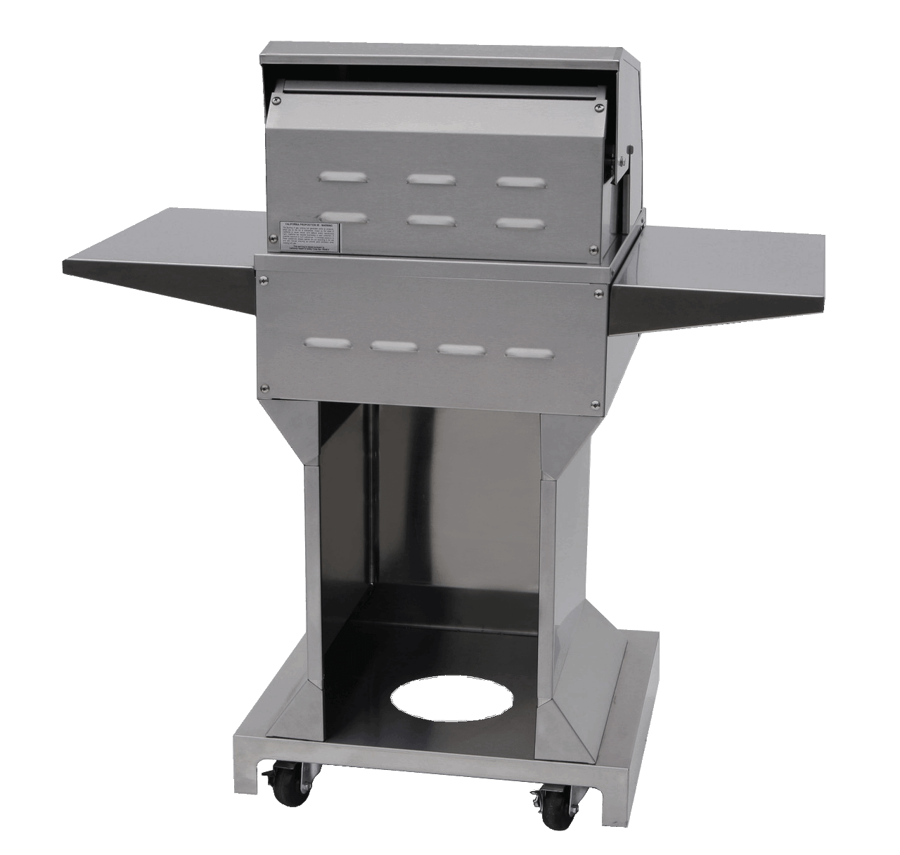 Solaire 21 XL Grill, Angular Pedestal, Back View, Hood Down, Shelves Up