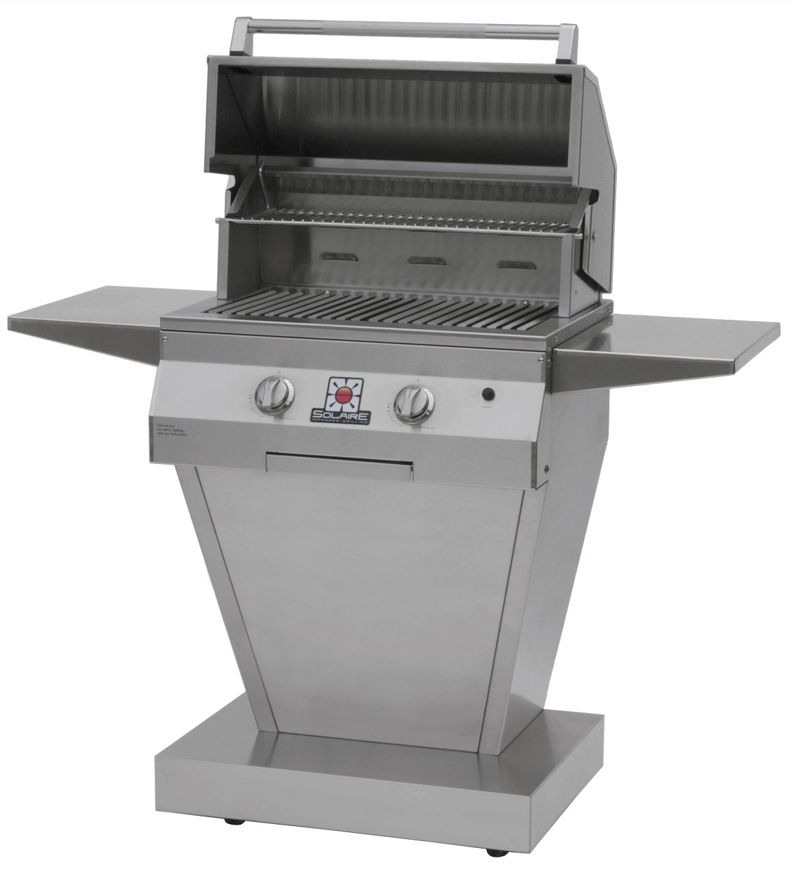 Solaire 27 Inch Grill, Angular Pedestal, Front View