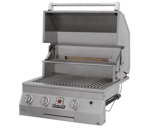 Solaire 27 XL Grill, Built In, Front View, Hood Up, AGBQ