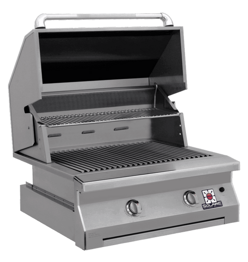 Solaire 30 Inch Grill, Built In, Front View, Hood Up, IRBQ