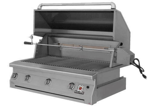 Solaire 42 Inch Grill, Built In, Front View, Hood Up, Rotisserie, AGBQ