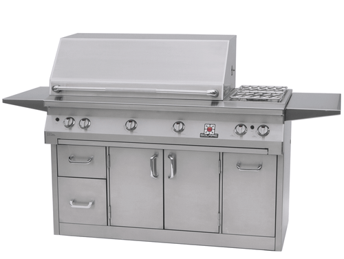 Solaire 56 Inch Grill, Premium Cart A, Hood Down, Shelves Up