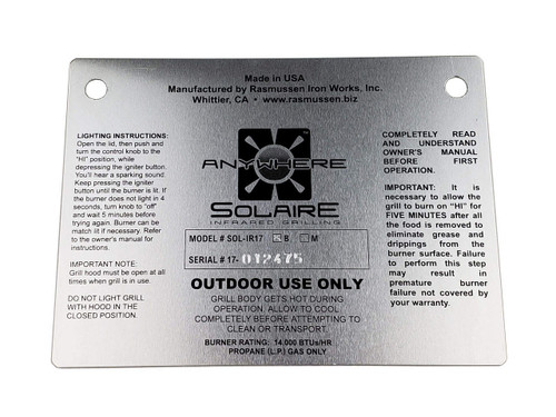 ID/Warning Plate for Solaire Anywhere