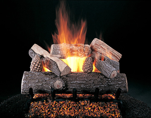 """Lone Star by Rasmussen Gas Logs (shown: 24"""" size on FX Burner and 5/8"""" Grate"""