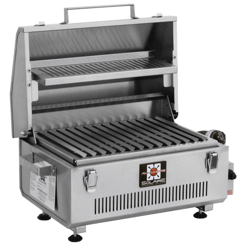Solaire Anywhere Portable Infrared Grill with Warming Rack, Hood Up