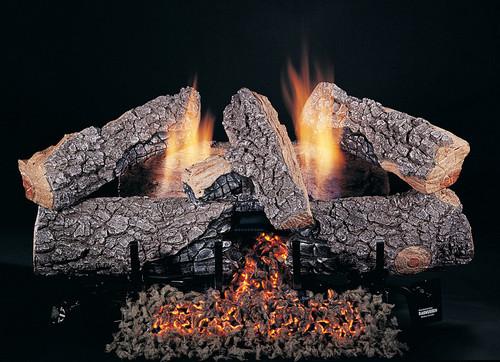 "24"" Evening Embers by Rasmussen Gas Logs, Bark side of logs showing"