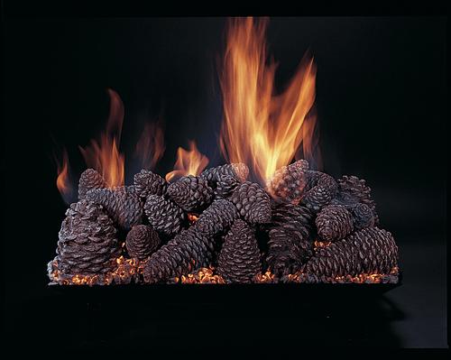 """Pine Cones 24"""" set size on CS24-B-N burner by Rasmussen Gas Logs"""
