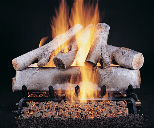 """Birch Logs (Shown in 24"""" set size with FX burner and 5/8"""" grate) by Rasmussen Gas Logs"""
