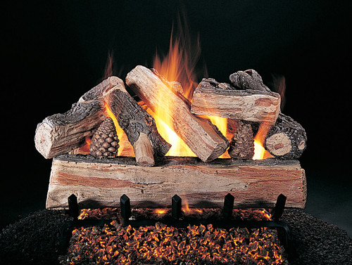 "CrossFire (XF) Logs (shown on FX burner and 5/8"" grate) by Rasmussen Gas Logs"