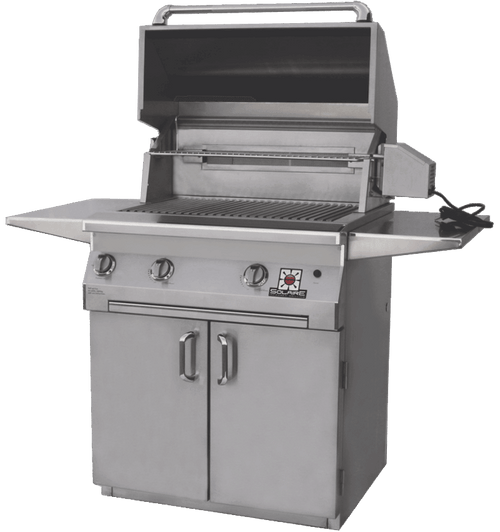Solaire 30 Inch Grill, Standard Cart, Front View, Hood Up, AGBQ