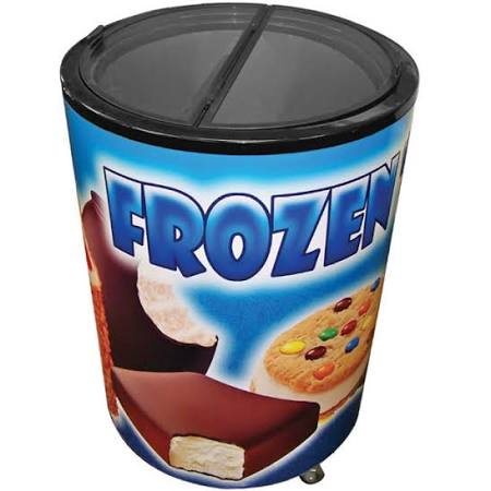 Excellence RF-77HC Barrel-Style Merchandiser Freezer, ice cream freezer, point of purchase ice cream freezer, excellence refrigeration freezer, ice cream display freezer, popsicle freezer, ice cream cooler, ice cream barrel freezer, cheap ice cream freezer, 7-11 ice cream freezer, 7-11 ice cream cooler, 7-11 beverage cooler, beverage cooler, POP display, refrigerated POP display reach in ice cream freezer, convenience store freezer display, convenience store display, convenience store freezer, Excellence RF-77HC Barrel-Style Merchandiser Freezer with Graphics, ice cream freezer display, point of purchase freezer display, ice cream merchandiser, ice cream cooler, freezer display