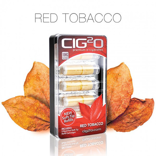 Cig2o Refill Cartomizer 5 Pack Red Tobacco Flavor Soft Tip 24mg