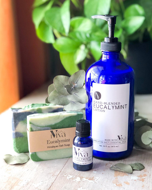 Eucalymint gift set includes 1 each of: lotion, oil, and soap!