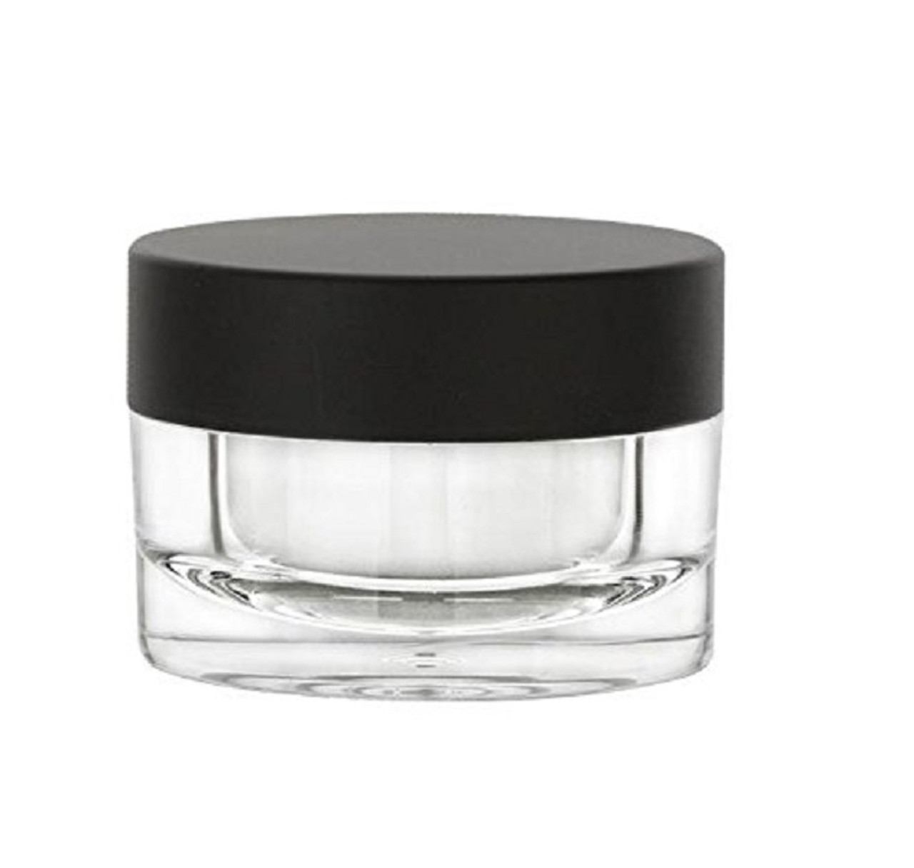 1 oz Acrylic Plastic Jar with Airtight Black Matte Lid and Liner