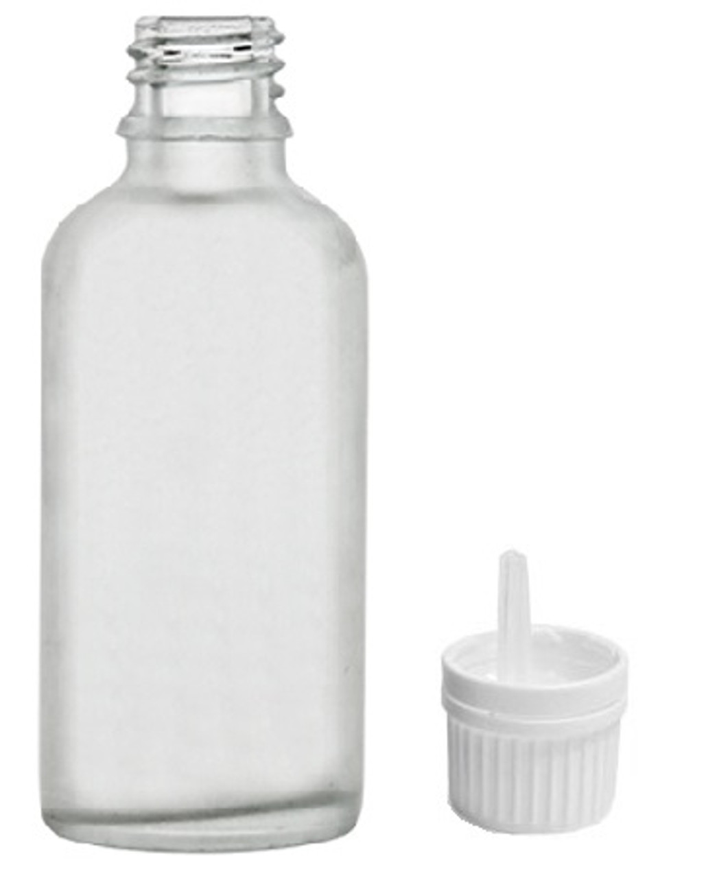 30 ml Clear Frosted Euro Dropper Glass Bottle for Essential Oils with White Tamper Evident Euro Dropper (1 oz)
