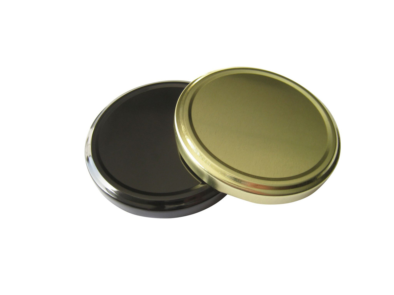 82TW Black, Silver and Gold metal lids with plastisol liner for glass jars