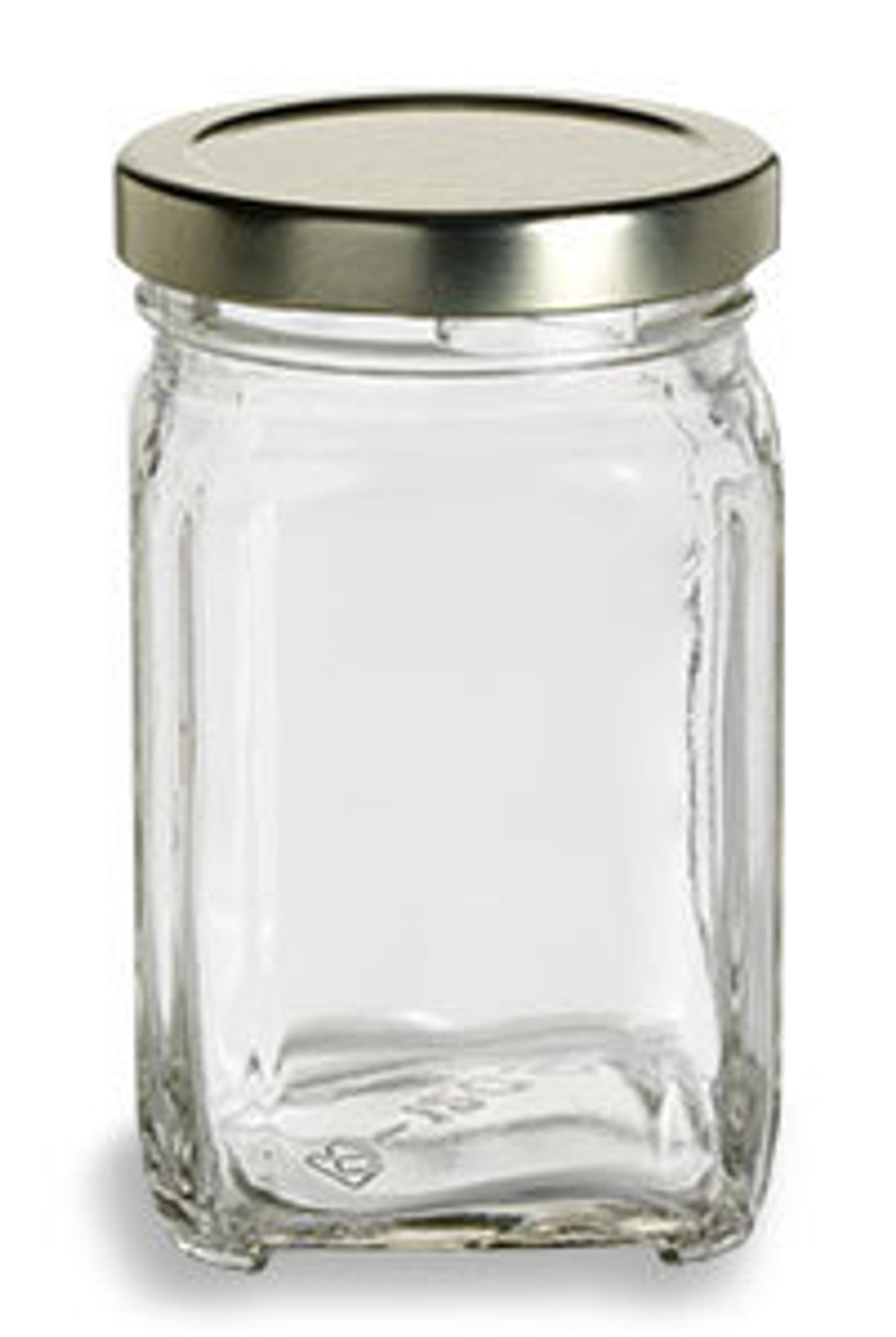12 oz Glass Square Victorian Jar with Gold Lid (375 ml)