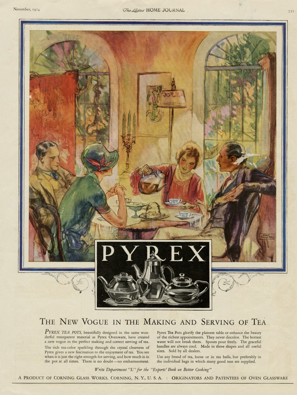 """Vintage Pyrex Tea Pot - """"The New Vogue in the Making and Serving of Tea"""" [advertisement], Corning Glass Works, Ladies' Home Journal, November 1924, pp. 211"""