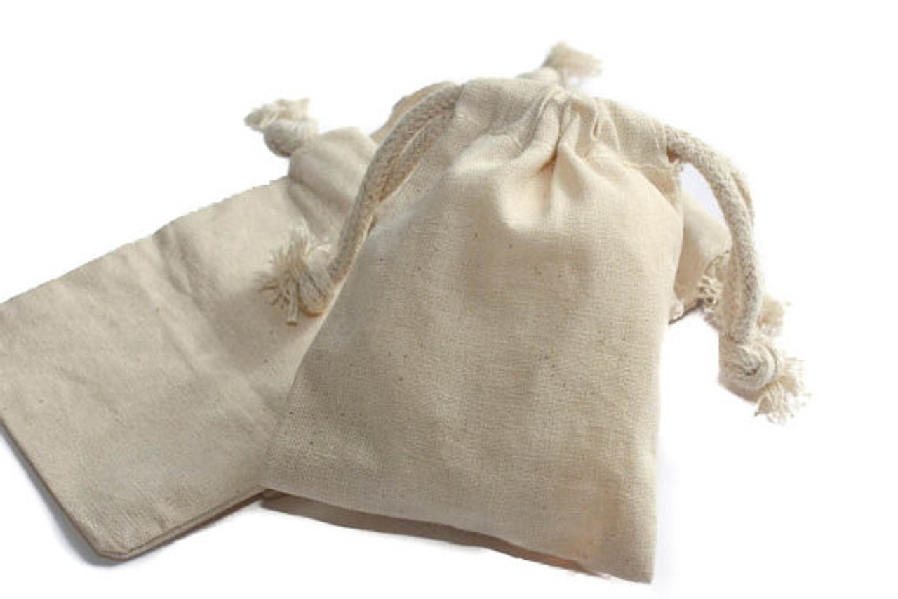 4 x 3 POUCH NATURAL MUSLIN Crystal Bag w// Drawstring