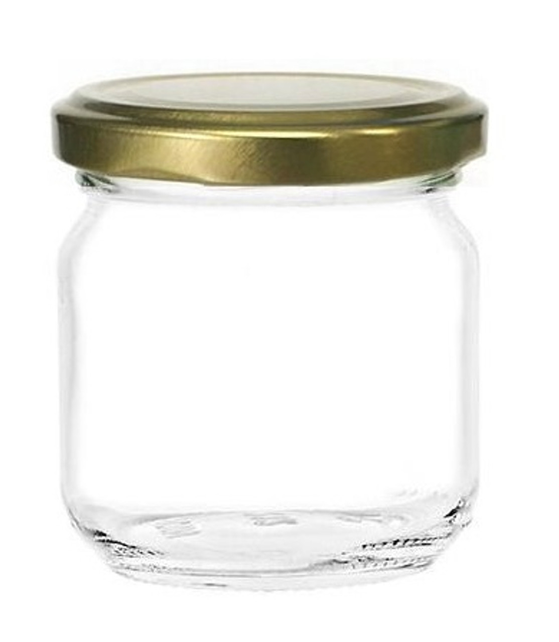 8 oz straight edge glass jar for sale with plastisol lined 66TW Gold Lid