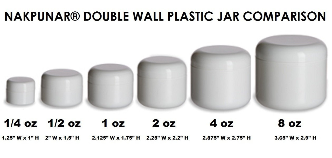 White Double Wall Plastic Jars - Set of 12