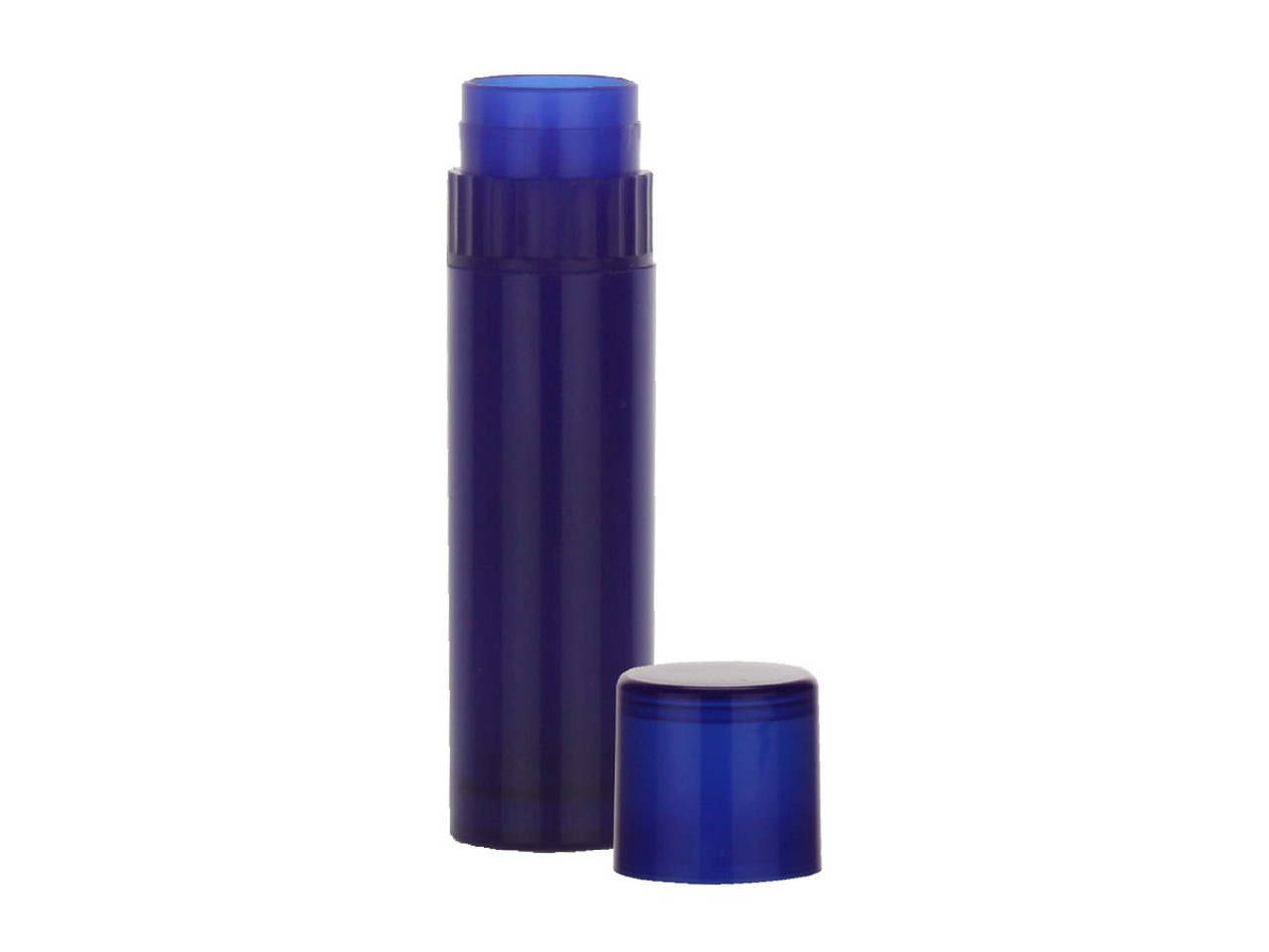 Royal Blue Lip Balm Tubes has collar turn mechanism at the top and made with BPA free Polypropylene.