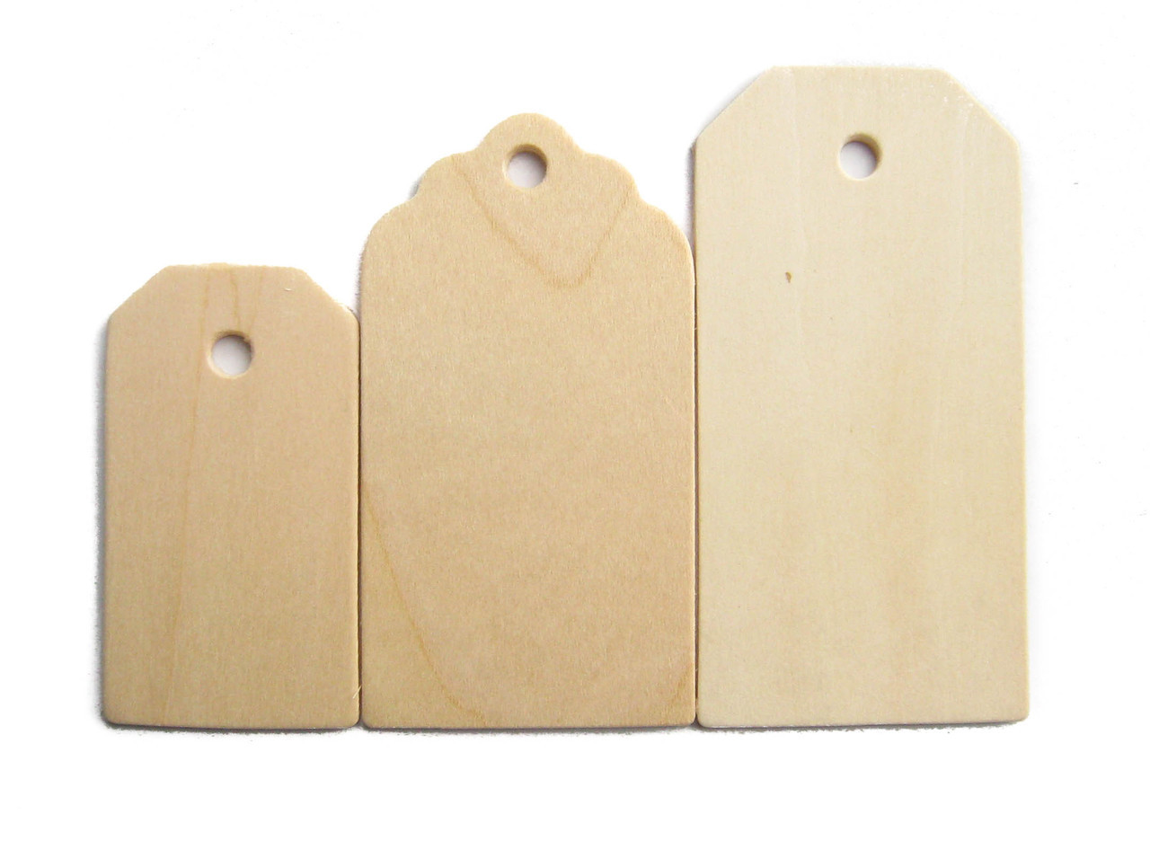 """Woof wooden tag, unfinished birch made in Usa, 3"""", cutout, craftparts"""