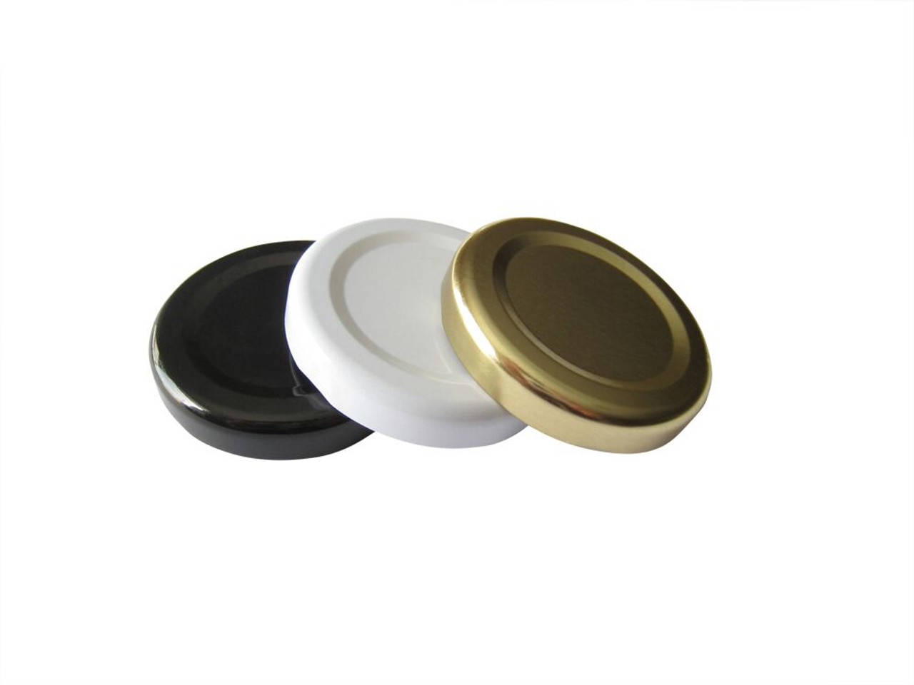 Nakpunar Plastisol Lined 48TW lug lids in gold, white and black