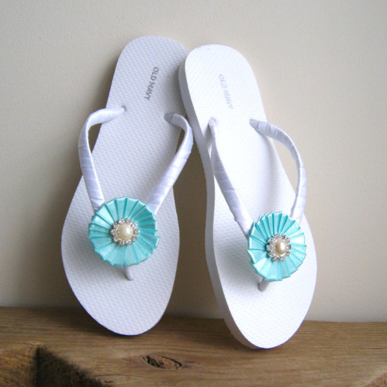 Robin Egg Blue Wedding Flip Flops,Bridesmaids, Flower girls