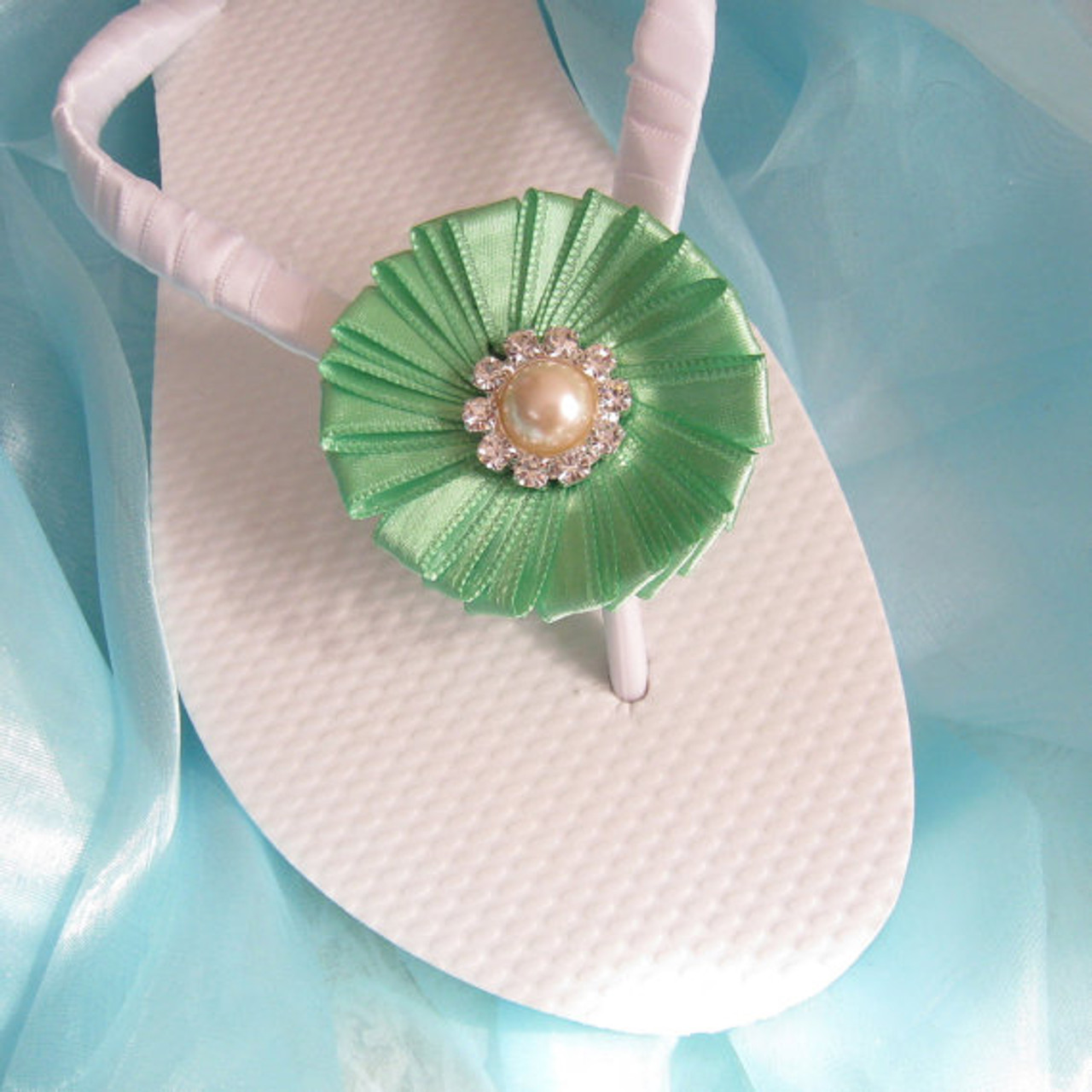 Apple Green Decorated Bridal Flip Flops / Bridal Wedding Flip Flops,Bridesmaids, Flower girls,