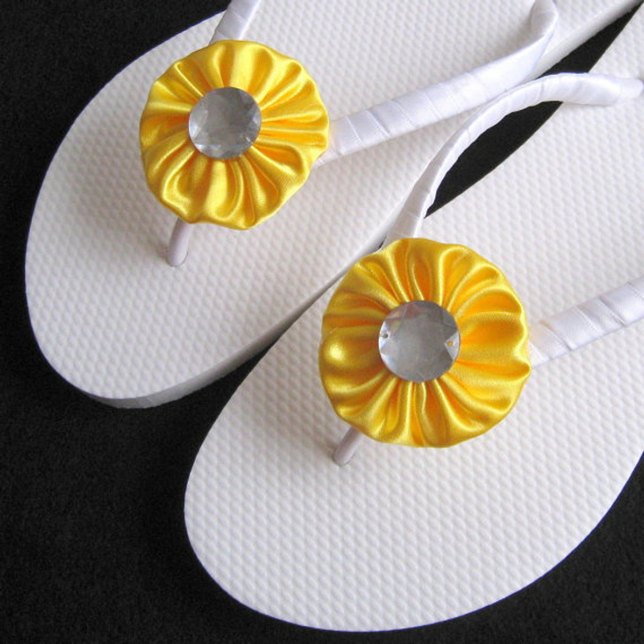 bd576361e9c3 Lemon Yellow Bridal Flip Flops - 1 Adult Size - Wedding Favors ...