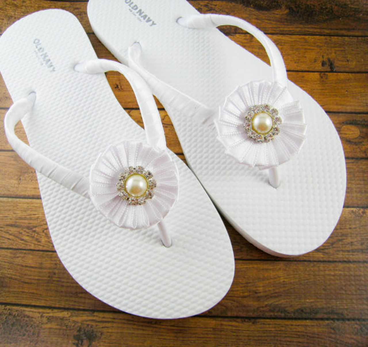 f34a91436e6c Bridal Flip Flops - White and off white   Wedding Flip Flops   Bridesmaid