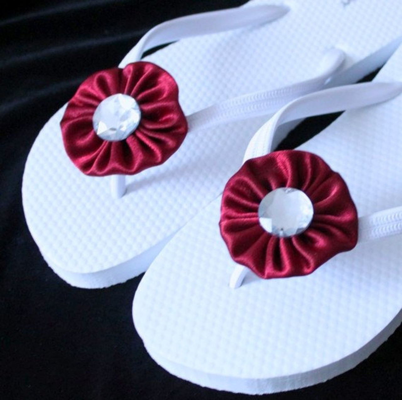 30d050580f58 Red and White Wedding Flip Flops   Bridal Flip Flops - NAKPUNAR