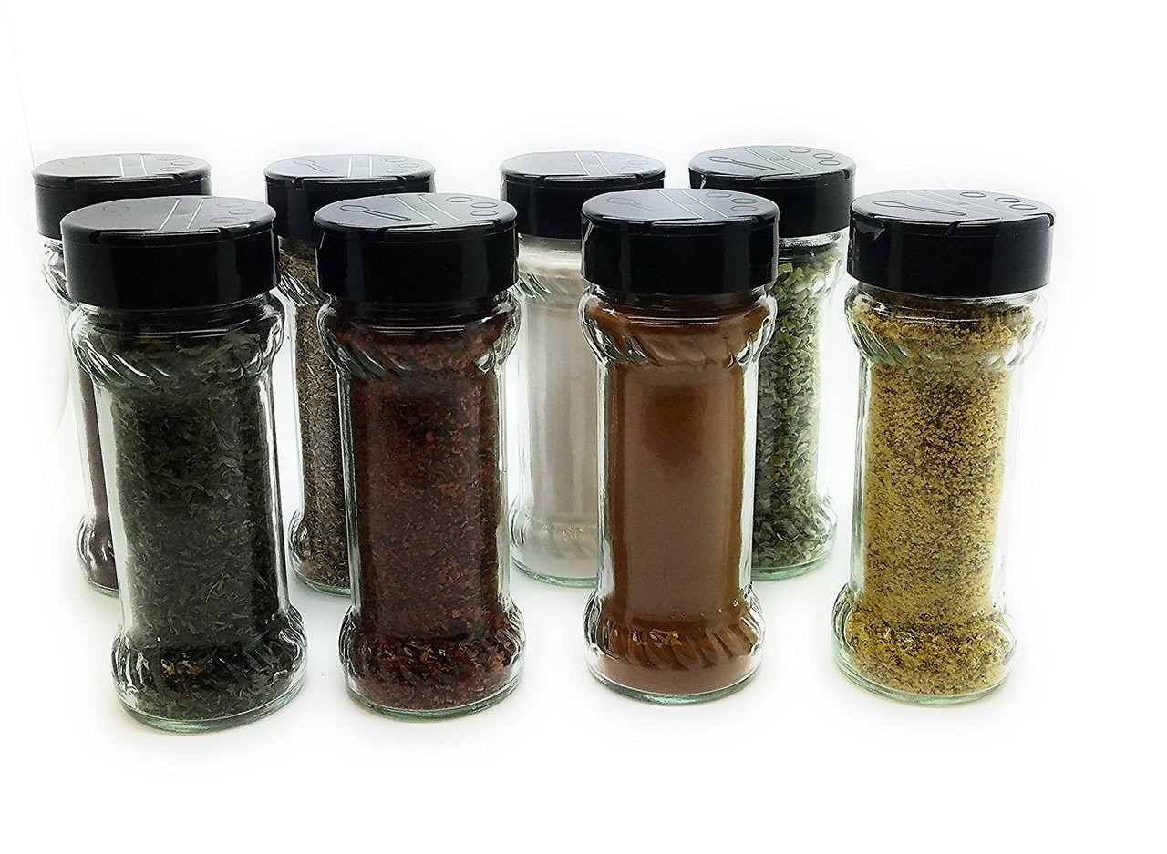Set of 8 - 6.4 oz Glass Spice Jars with Shaker Fitment and Black Caps