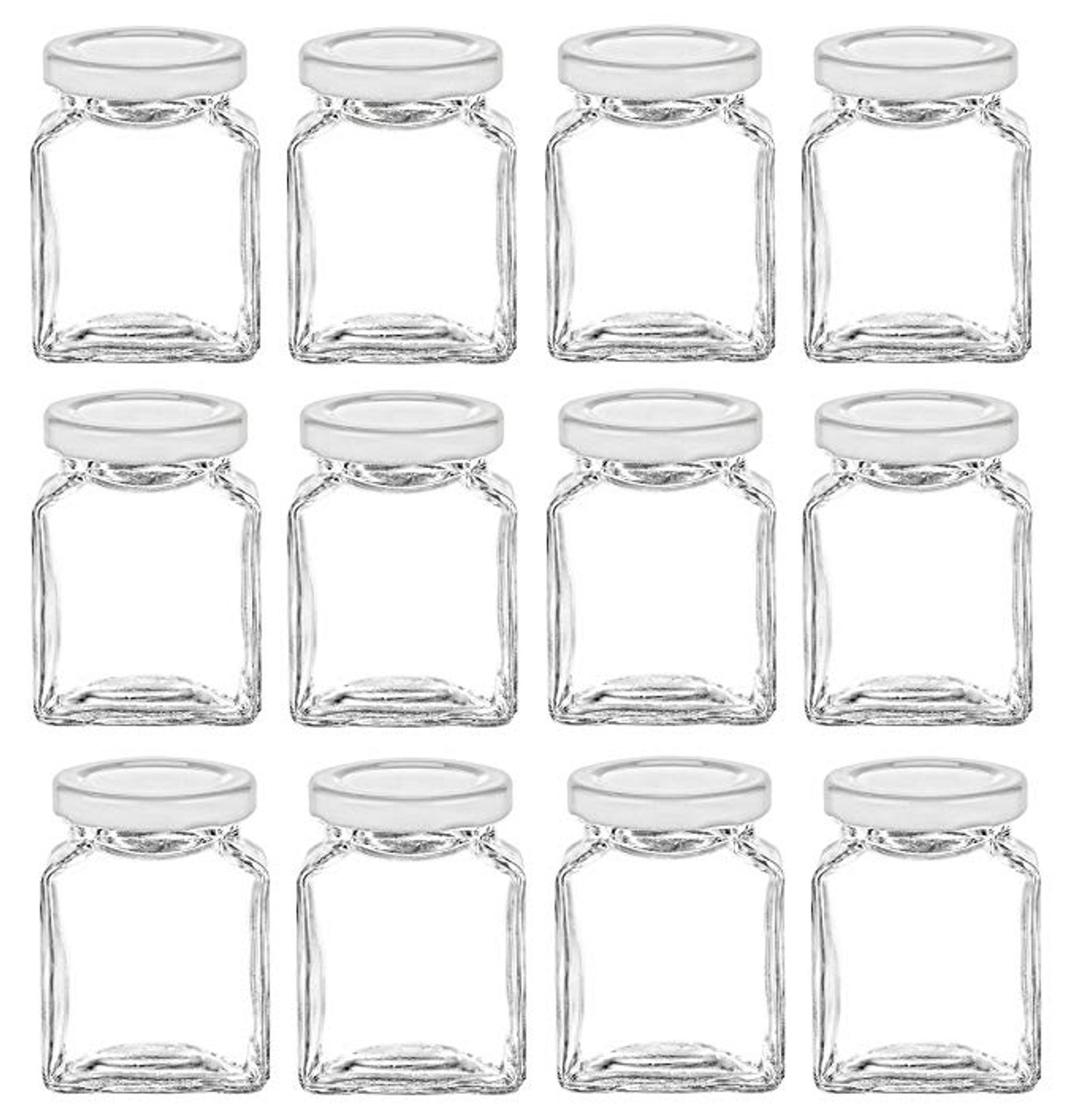 6 oz Cube Square Glass Jars with White Lids for Honey, Jam, Canning by Nakpunar