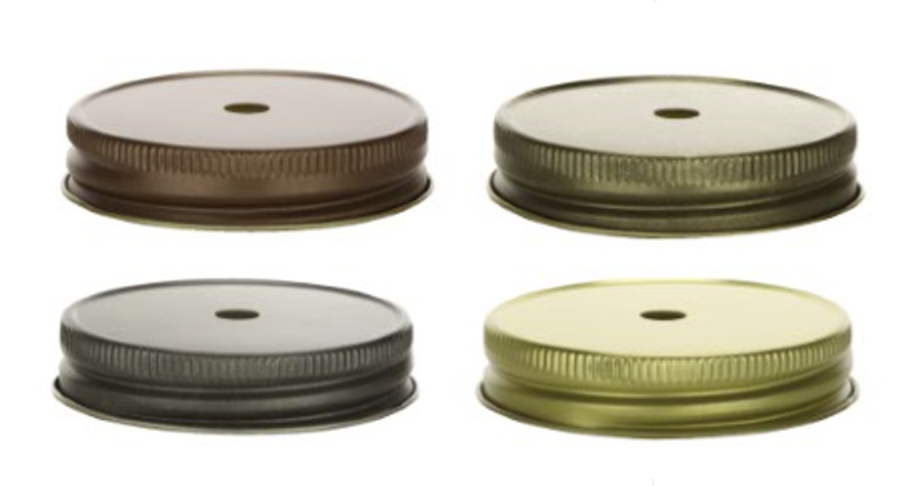 Mason Jar Lids with Straw Holes for Regular Mouth Mason Jars